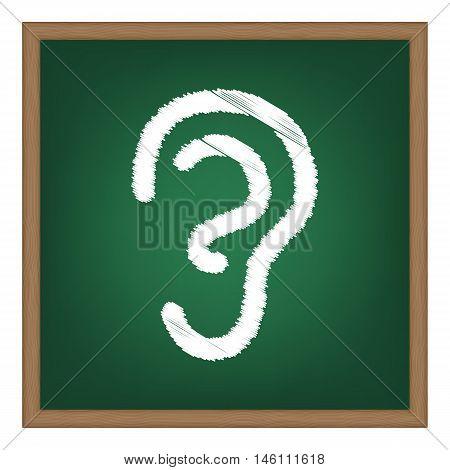 Human Ear Sign. White Chalk Effect On Green School Board.