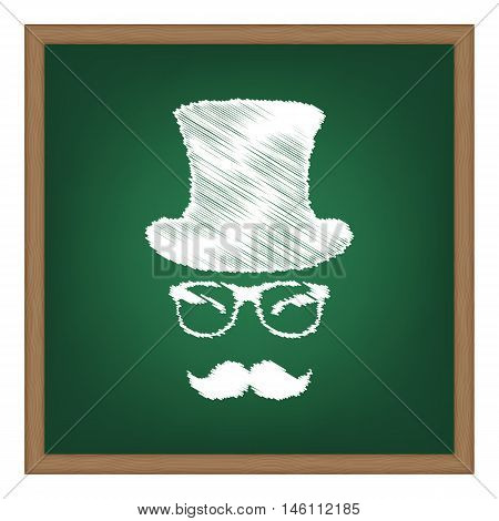 Hipster Accessories Design. White Chalk Effect On Green School Board.