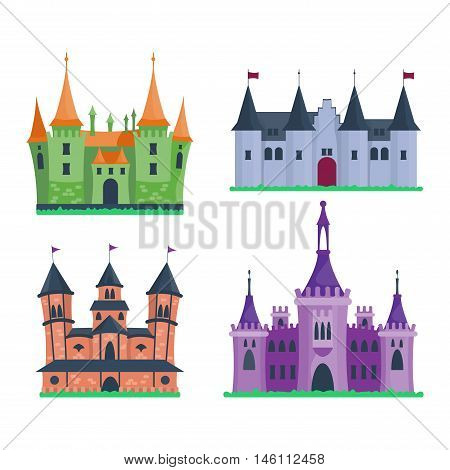 Cartoon fairy tale castle tower icon. Cute cartoon castle architecture. Vector illustration fantasy house fairytale medieval castle. Princess cartoon castle cartoon stronghold design fable isolated