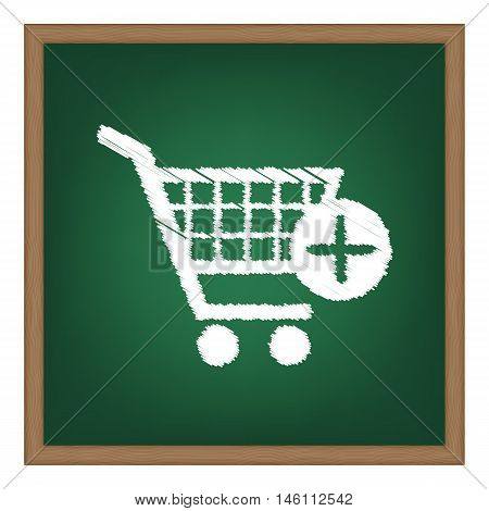 Shopping Cart With Add Mark Sign. White Chalk Effect On Green School Board.