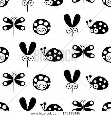 Seamless vector pattern with insect. Cute hand drawn endless background with childish ladybugs mosquito and dragonfly. Series of childish seamless patterns wrapping cover fabric.