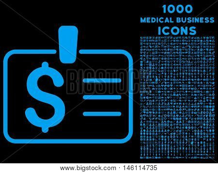 Dollar Badge raster icon with 1000 medical business icons. Set style is flat pictograms, blue color, black background.