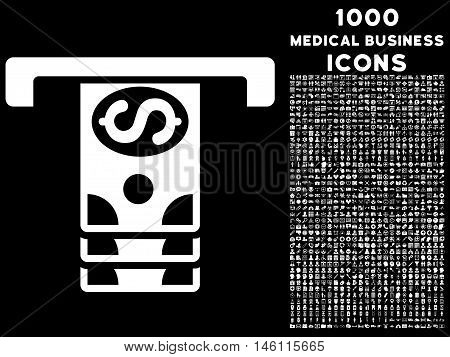 Banknotes Withdraw raster icon with 1000 medical business icons. Set style is flat pictograms, white color, black background.