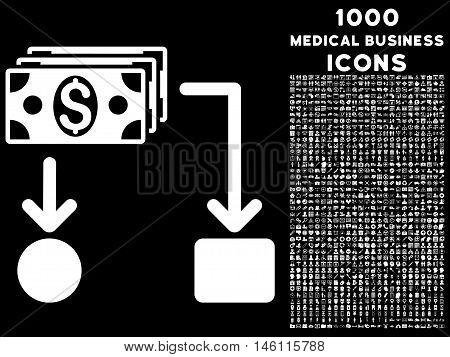 Cashflow raster icon with 1000 medical business icons. Set style is flat pictograms, white color, black background.