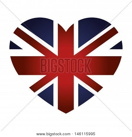 london city flag in heart shape. british symbol. vector illustration