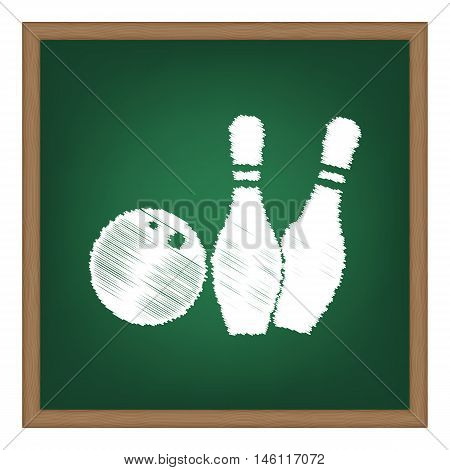 Bowling Sign Illustration. White Chalk Effect On Green School Board.