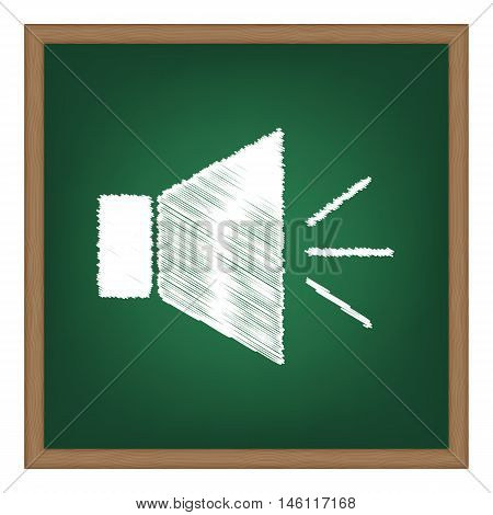 Sound Sign Illustration With Mute Mark. White Chalk Effect On Green School Board.