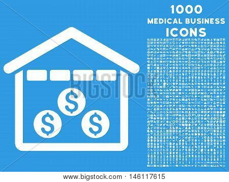 Money Depository raster icon with 1000 medical business icons. Set style is flat pictograms, white color, blue background.