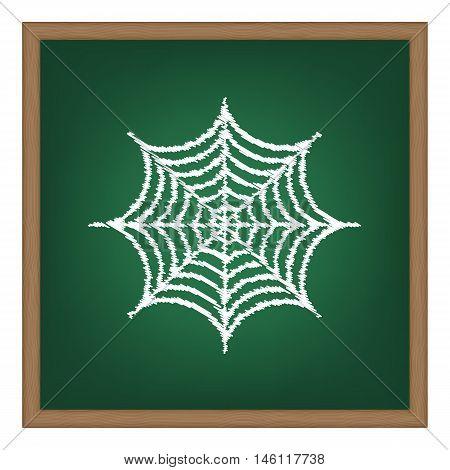 Spider On Web Illustration. White Chalk Effect On Green School Board.