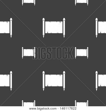 Ancient Parchment Sheet Of Paper Sign. Seamless Pattern On A Gray Background. Vector