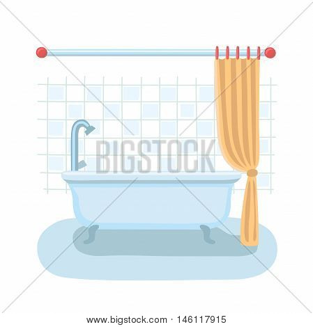 Vector cartoon illustration of bathroom interior in flat style with open shower curtain.