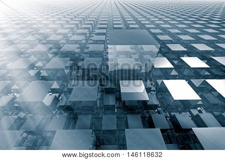 Abstract tech background - computer-generated image. 3d rendering fractal - cubes with a shiny surface, lined up in rows stretching to the horizon. Technology, communications, hi-tech concept.