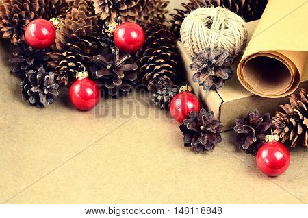 Natural Materials For Handcrafted Christmas Decoration (paper, Pine And Spruce Cones, Jute, Cardboar