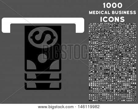 Banknotes Withdraw raster bicolor icon with 1000 medical business icons. Set style is flat pictograms, black and white colors, gray background.