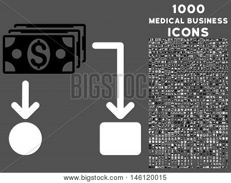 Cashflow raster bicolor icon with 1000 medical business icons. Set style is flat pictograms, black and white colors, gray background.