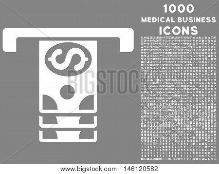 Banknotes Withdraw raster icon with 1000 medical business icons. Set style is flat pictograms, white color, gray background.