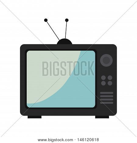retro television with buttons and antenna. technology and entertainment device. vector illustration