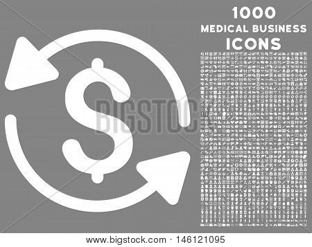 Money Turnover raster icon with 1000 medical business icons. Set style is flat pictograms, white color, gray background.