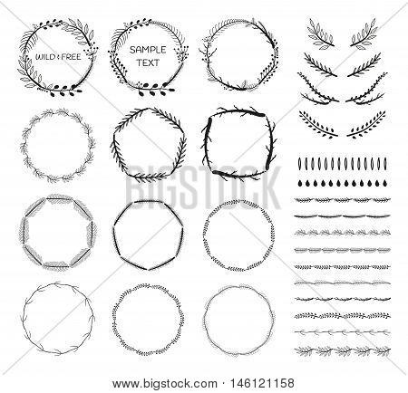 Collection of hand drawn round wreaths and brushes with twigs, berries and leaves isolated on white background.