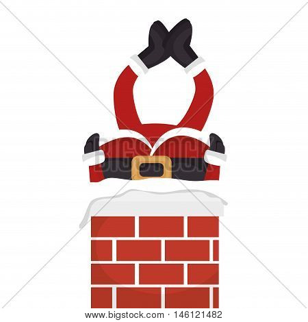 santa claus stuck in chimney christmas season symbol. vector illustration