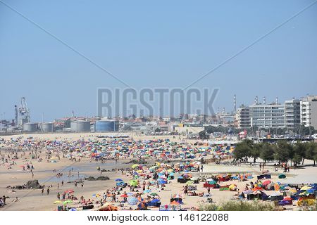 PORTO, PORTUGAL - AUG 22: Beach in Porto, Portugal, as seen on Aug 22, 2016. It is the second largest city in Portugal after Lisbon and one of the major urban areas of the Iberian Peninsula.