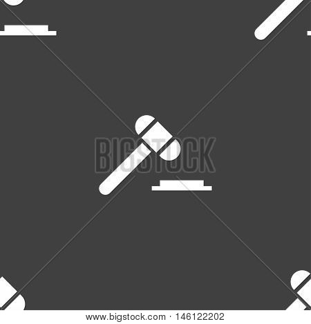 Judge Or Auction Hammer Icon Sign. Seamless Pattern On A Gray Background. Vector