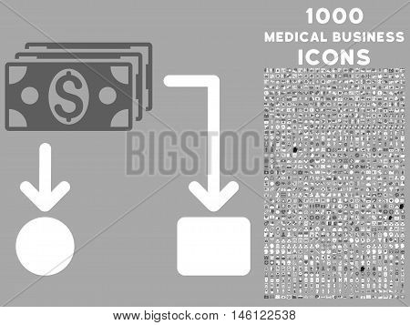 Cashflow raster bicolor icon with 1000 medical business icons. Set style is flat pictograms, dark gray and white colors, silver background.