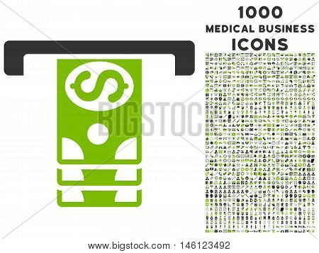 Banknotes Withdraw raster bicolor icon with 1000 medical business icons. Set style is flat pictograms, eco green and gray colors, white background.