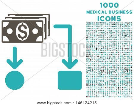 Cashflow raster bicolor icon with 1000 medical business icons. Set style is flat pictograms, grey and cyan colors, white background.
