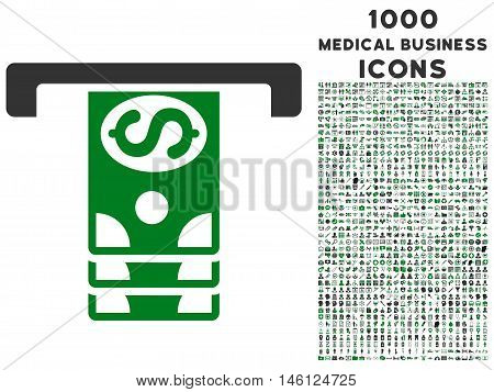 Banknotes Withdraw raster bicolor icon with 1000 medical business icons. Set style is flat pictograms, green and gray colors, white background.