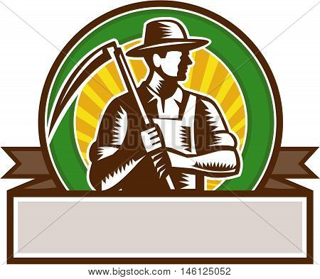 Illustration of an organic farmer farm worker wearing hat holding scythe looking to the side set inside circle and banner with sunburst in the background done in retro woodcut style.