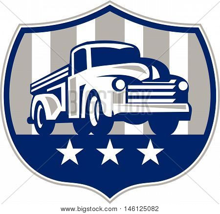 Illlustration of a vintage pick up truck set inside shield crest with usa american stars and stripes flag in the background done in retro style.