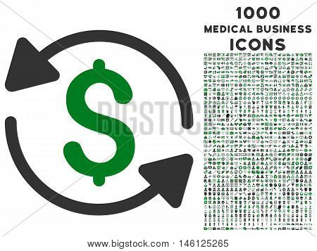 Money Turnover raster bicolor icon with 1000 medical business icons. Set style is flat pictograms, green and gray colors, white background.