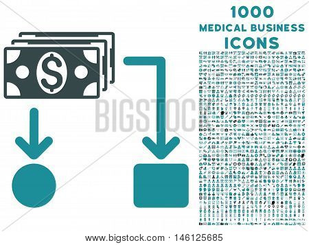 Cashflow raster bicolor icon with 1000 medical business icons. Set style is flat pictograms, soft blue colors, white background.