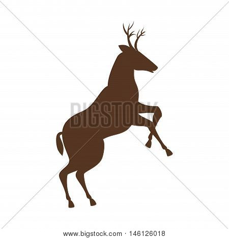brown deer  with horns and running. wildlife animal. vector illustration