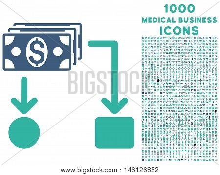 Cashflow raster bicolor icon with 1000 medical business icons. Set style is flat pictograms, cobalt and cyan colors, white background.