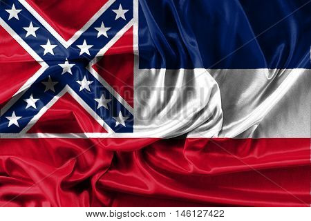 flag of Mississippi - fabric background, wallpapers, close-up