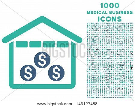 Money Depository raster bicolor icon with 1000 medical business icons. Set style is flat pictograms, cobalt and cyan colors, white background.