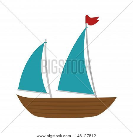 sailboat ship. nautical boat with red flag. vector illustration