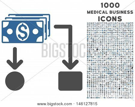 Cashflow raster bicolor icon with 1000 medical business icons. Set style is flat pictograms, cobalt and gray colors, white background.