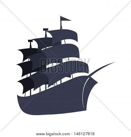 big sailboat ship nautical transport with flags. vector illustration