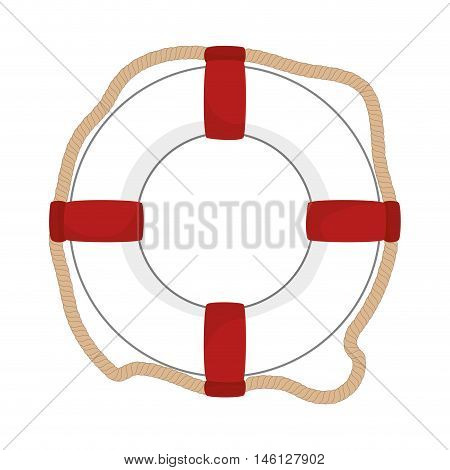 classic nautical white float with red stripes and rope. vector illustration
