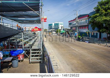 BARRANQUILLA, COLOMBIA - FEBRUARY 15, 2015: Empty streets early in the morning just before Colombia's most important folklore celebration, the Carnival of Barranquilla