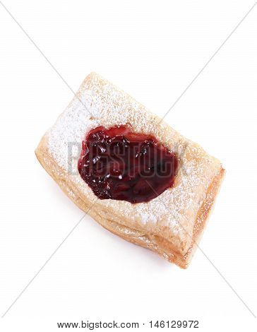 Fresh Puff Pastry With Powdered Sugar With Jam Isolated On A White Background
