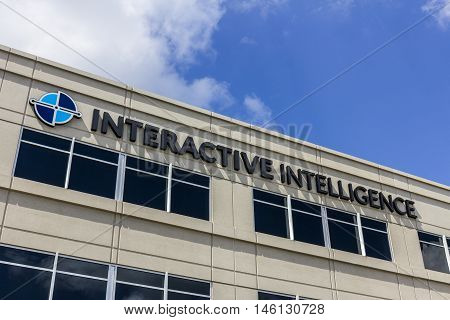 Indianapolis - Circa September 2016: Interactive Intelligence Corporate Headquarters Interactive Intelligence Provides Cloud Services for Customer Engagement Communications and Collaboration II