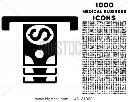 Banknotes Withdraw raster icon with 1000 medical business icons. Set style is flat pictograms, black color, white background.