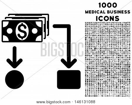 Cashflow raster icon with 1000 medical business icons. Set style is flat pictograms, black color, white background.