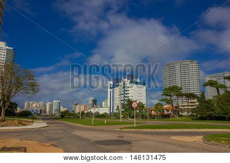 PUNTA DEL ESTE, URUGUAY - MAY 06, 2016: some new buildings in a street close to the beach.
