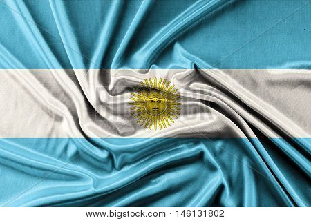 Waving Argentina Flag - waving fabric background, wallpapers, close-up