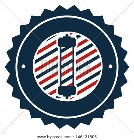 red and blue striped classic barber shop pole stamp seal . vector illustration